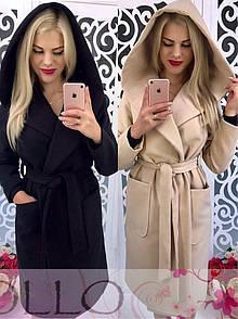 Кашемировое женское пальто длиной миди с капюшоном 17pal26