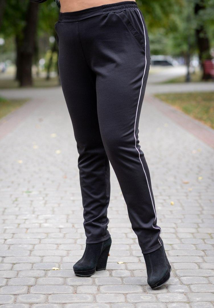 Женские брюки большого размера на резинке с кружевом 10blr193