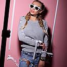 Вязаный женский свитер с шерстью и лентами на рукавах 18dis114, фото 3