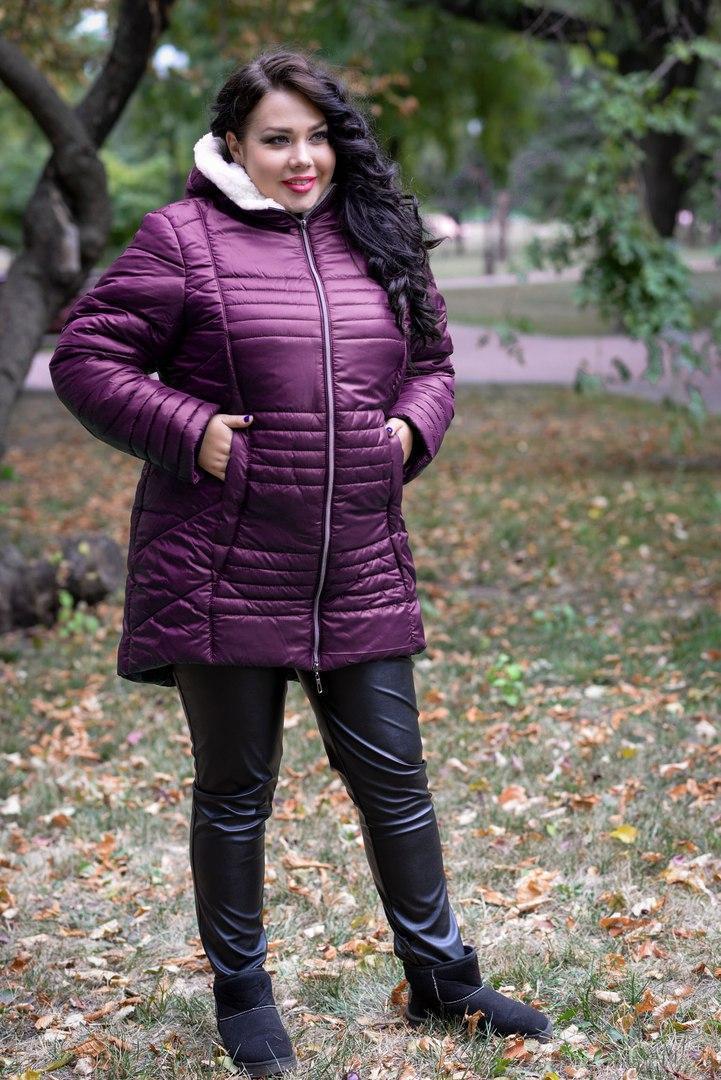 Теплая женская зимняя куртка на молнии в батальных размерах 10blr242