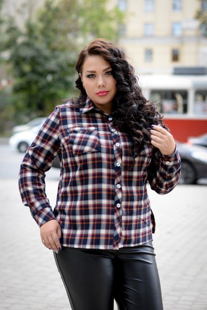 Женская рубашка в клетку в больших размерах 10blr243