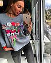 Женский свитшот из трехнитки с декором пайетками 18dis135, фото 3