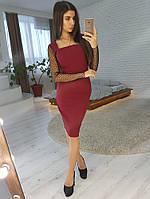 485f9135b9e Бордовое платье футляр с рукавами из сетки добби