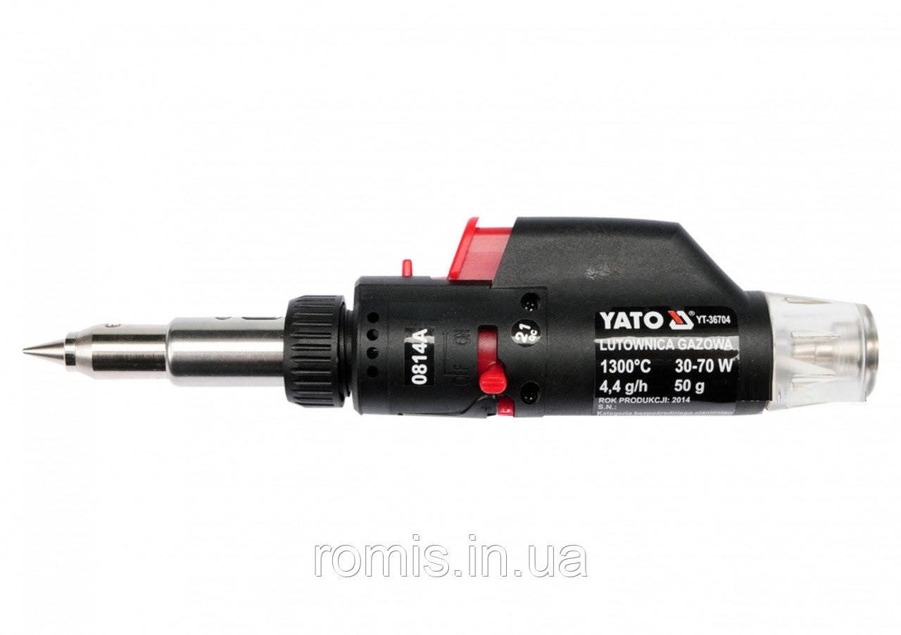 Пальник газовий YATO (t=1300°С), фен (t=550°С) і паяльник (t=350°С) з п'єзозапалом, 3 в 1