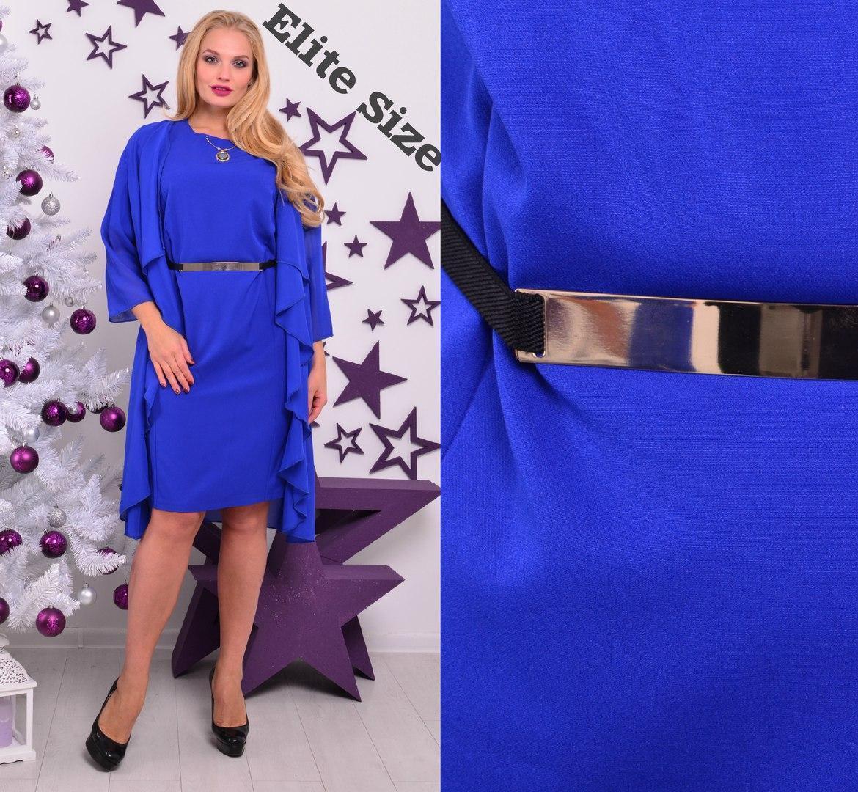 Платье батал из креп-шифона под пояс с оборками 6blr301