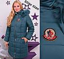 Удлиненная женская зимняя куртка батал на молнии с капюшоном 6blr307, фото 3