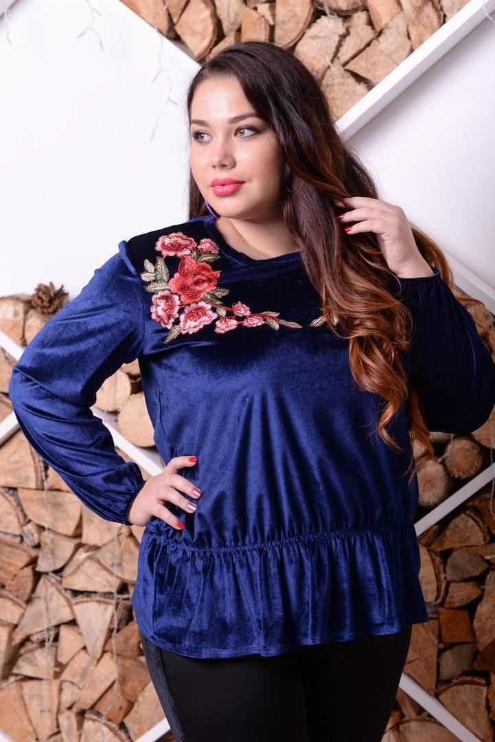 Бархатная женская кофта большого размера с цветами 10blr321