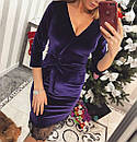 Бархатное платье с верхом на запах и кружевом снизу 33plt589, фото 2