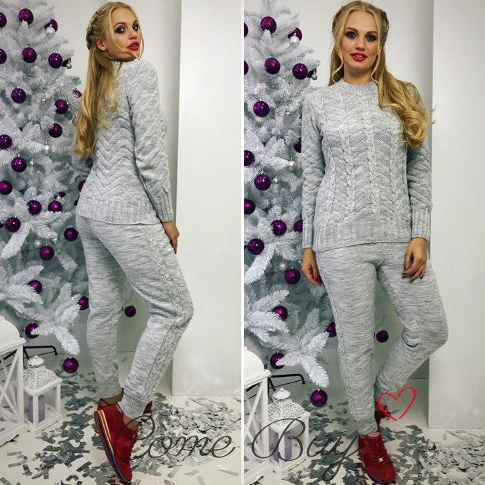 Женский вязаный костюм с шерстью в разных размерах и расцветках 56kos216