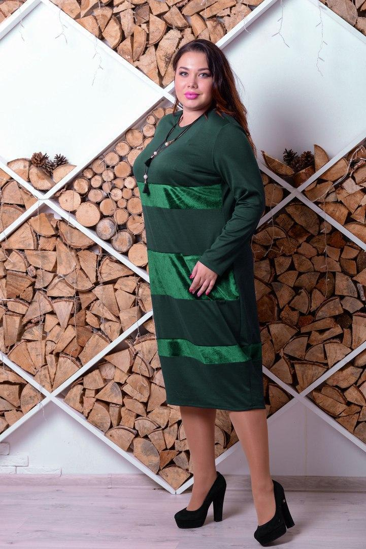 Прямое платье большого размера с бархатными вставками 10blr330