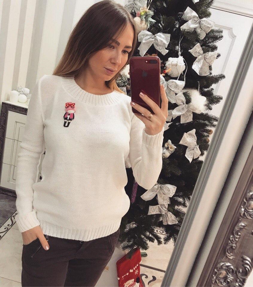 Женский вязаный свитер с шерстью и акрилом 33dis218