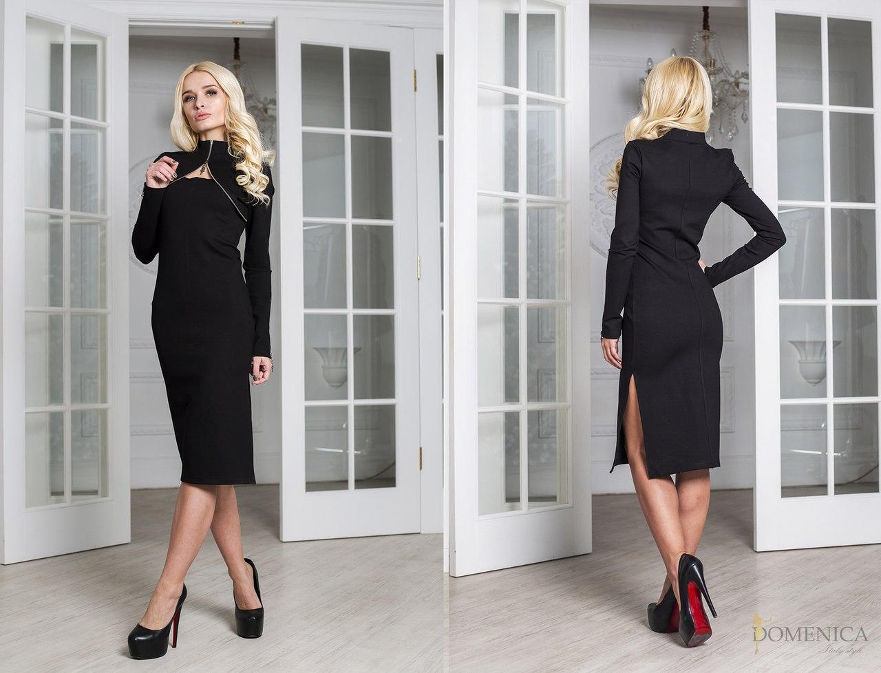 Приталенное деловое платье с разрезом на ноге и имитацией болеро 31plt697