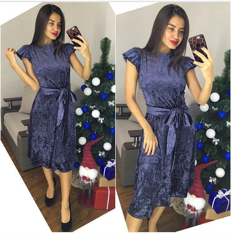 Велюровое платье ниже колена под пояс 64plt703