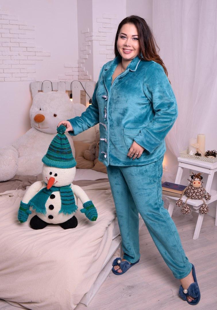 Женская пижама со штанами из плюшевой махры в больших размерах 10odd27