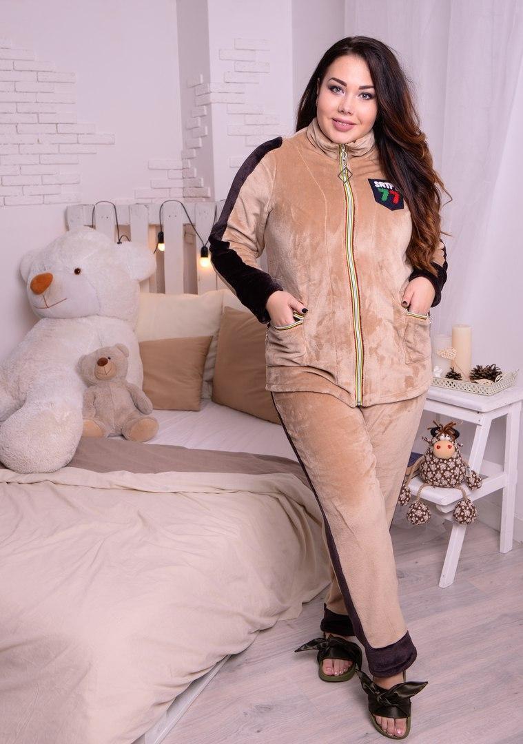 Женская теплая пижама большого размера из махры 10odd29