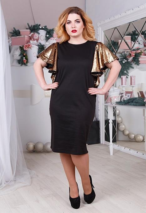 Прямое платье в больших размерах с рукавами из пайетки 61blr408
