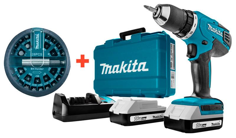 Аккумуляторный шуруповерт Makita DF 457 DWE + 2 акб 18 V 1.5 Ah + з/у + кейс + набор бит (DF457DWEX)