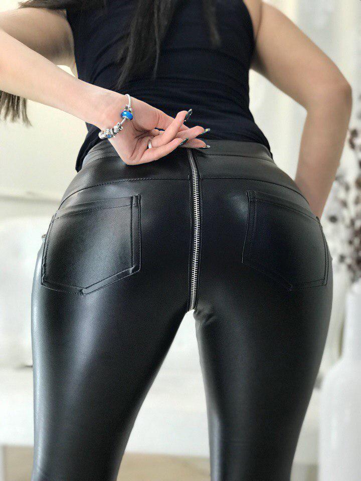 Женские кожаные лосины с молнией на попе 58bil165