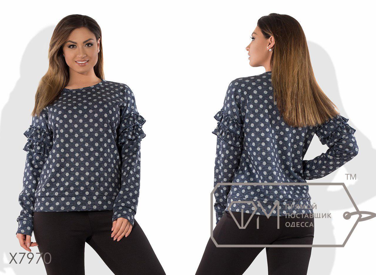 Женская блуза из ангоры в больших размерах в горошек fmx7970