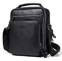 Мужская кожаная наплечная сумка Contacts с распашными карманами Черная