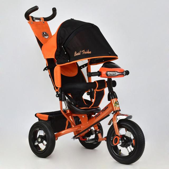 Трехколесный велосипед с фарой и ключом зажигания Best Trike 6588B-2700 оранжевый (надувные колеса)