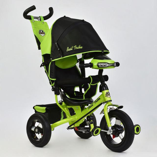 Трехколесный велосипед с фарой Best Trike 6588B-2690 салатовый (надувные колеса)