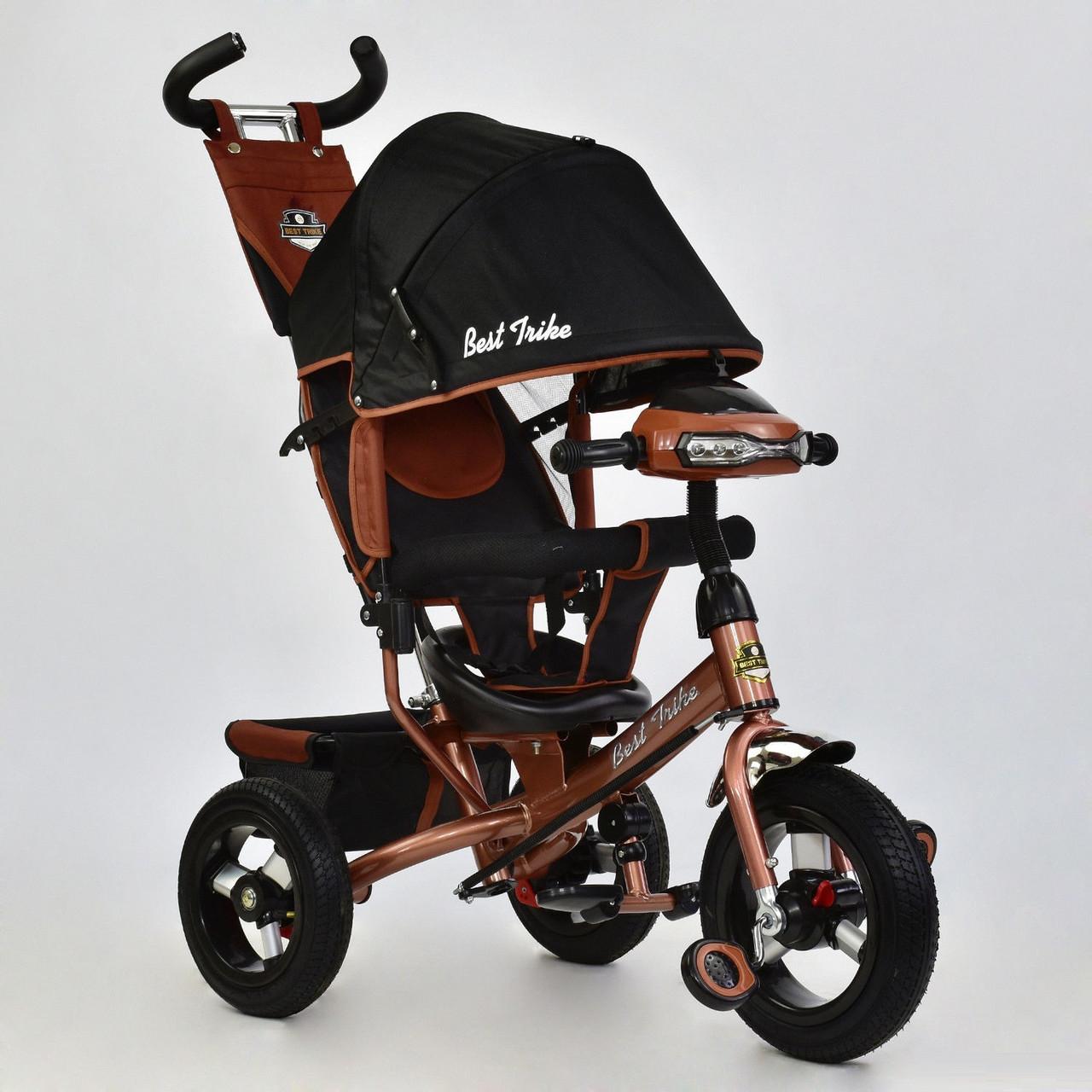 Трехколесный велосипед с фарой и ключом зажигания Best Trike 6588B-3360 бронзовый (надувные колеса)