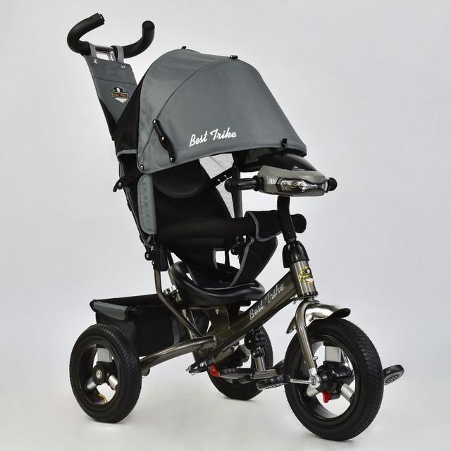 Велосипед трехколесный с фарой Best Trike 6588B-2920 серый (надувные колеса)