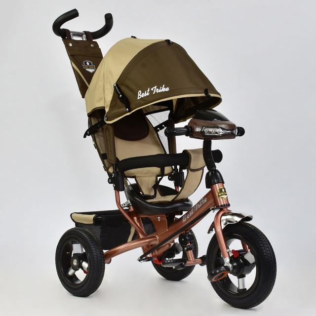 Велосипед трехколесный с фарой Best Trike 6588B-3140 коричневый (надувные колеса)