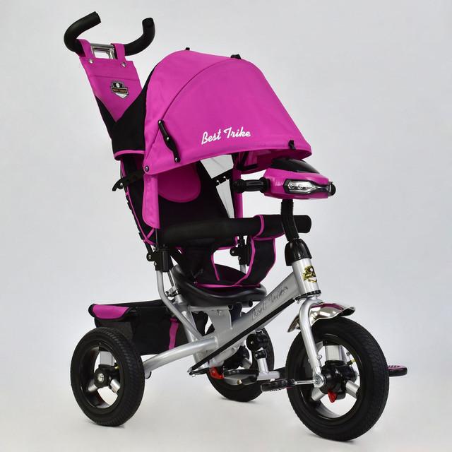 Трехколесный велосипед с фарой Best Trike 6588B-3470 розовый (надувные колеса)