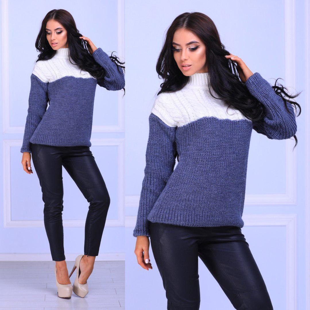 Женский вязаный свитер с шерстью с горловиной 14dis292