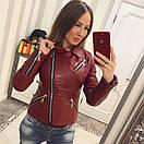 Кожаная женская куртка косуха в расцветках 33kur78, фото 4