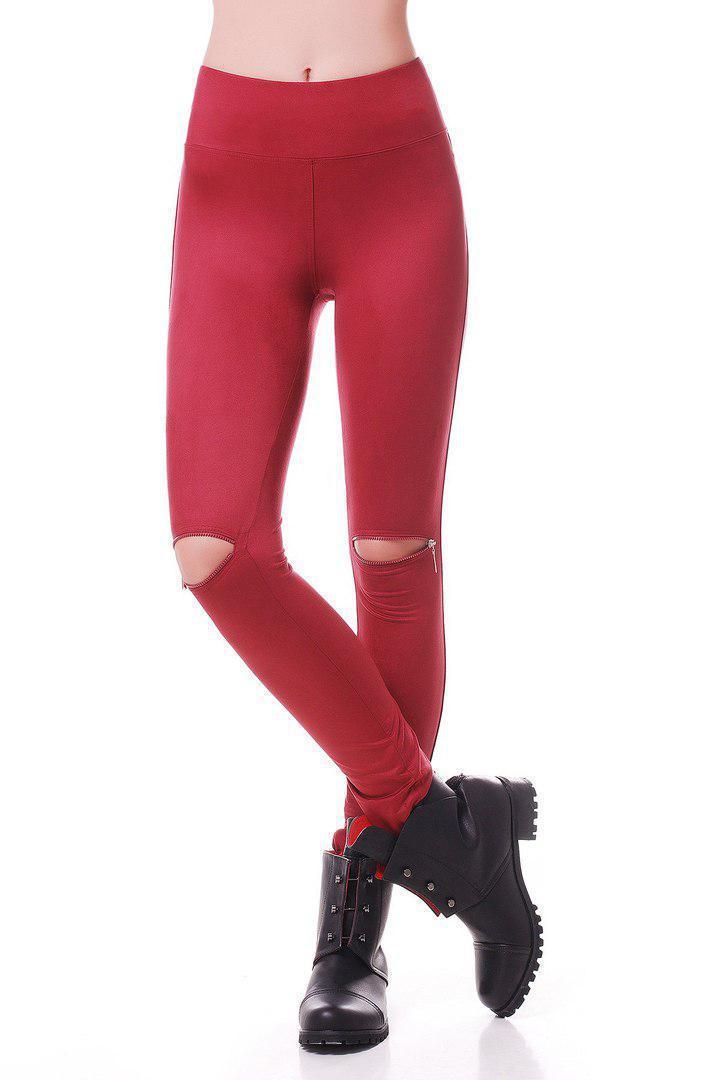 Замшевые женские лосины с разрезами на коленях 47bil201