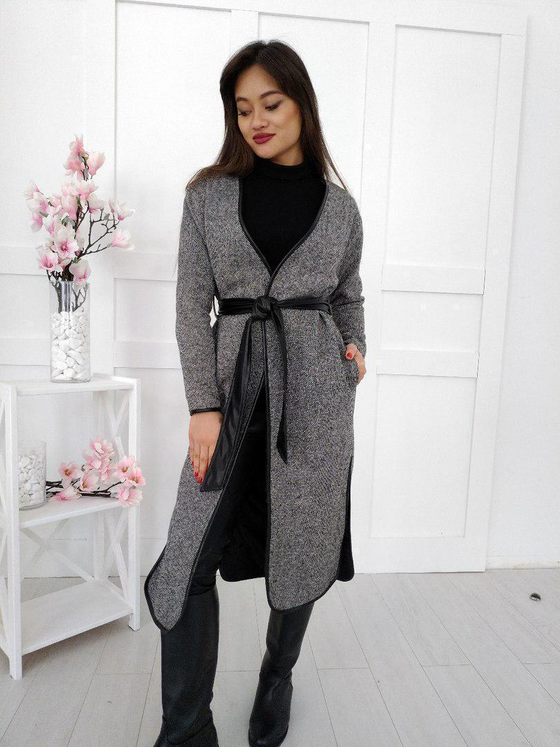 Твидовое женское пальто-кардиган под пояс 34pal65