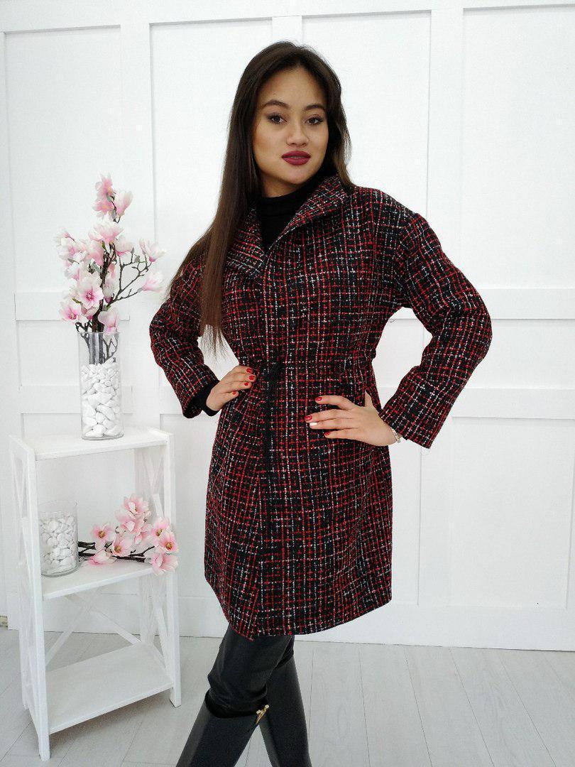 Буклированное женское пальто в клетку 34pal66