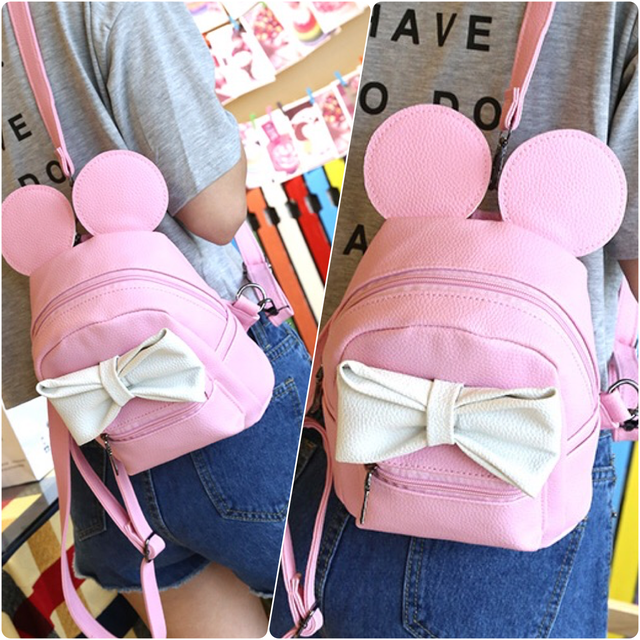 рюкзак микки с ушками розовый