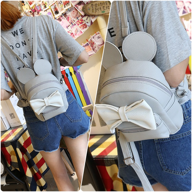 рюкзак микки с ушками серый