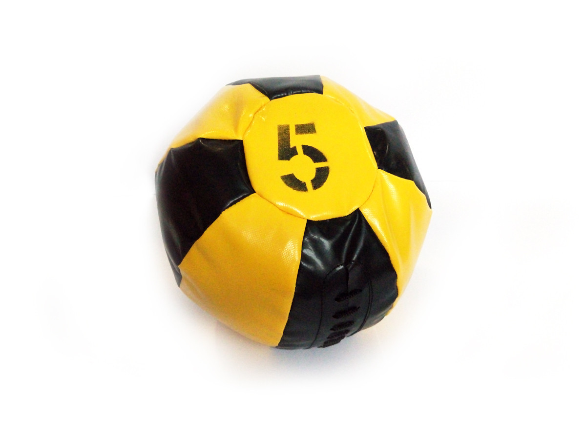 Медбол 5 кг черно-желтый