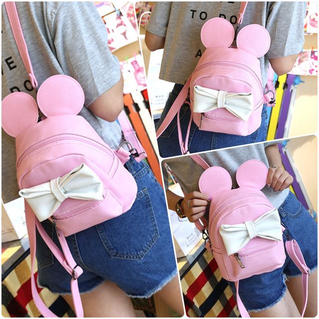 Детский рюкзак Микки с ушками розовый