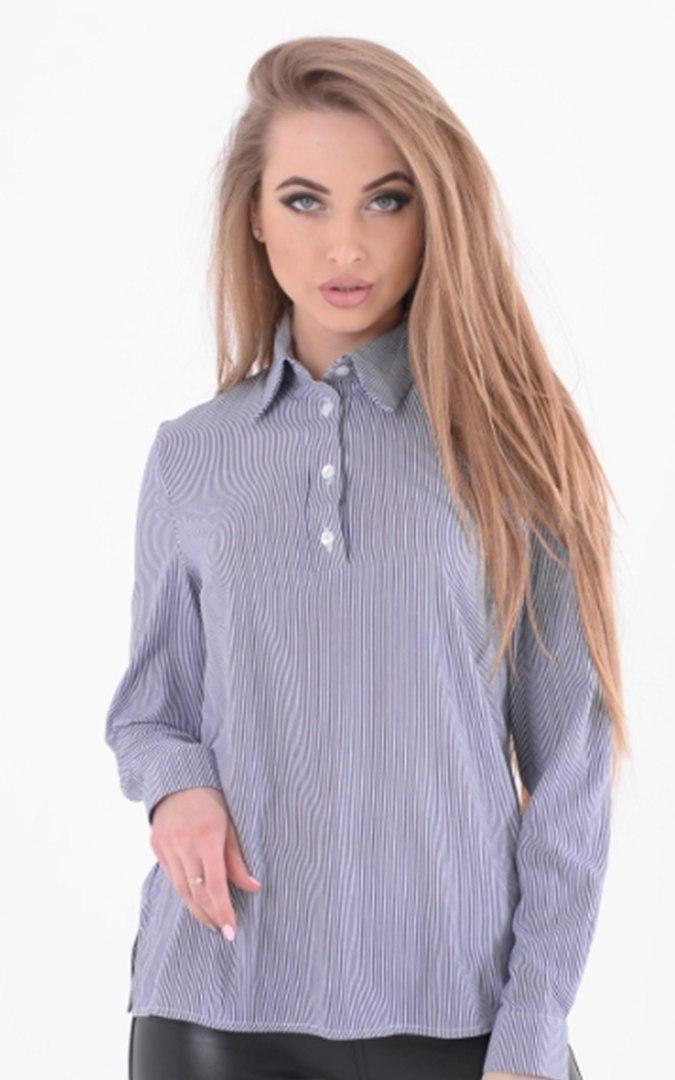 Женская блуза принтованная с воротником рубашечным 45bir93