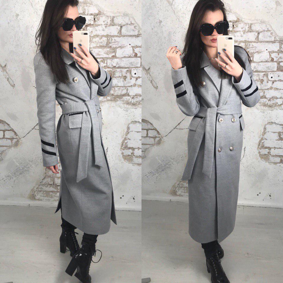 Удлиненное женское пальто двубортное с поясом 58pal70