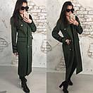 Удлиненное женское пальто двубортное с поясом 58pal70, фото 2