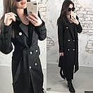 Удлиненное женское пальто двубортное с поясом 58pal70, фото 3