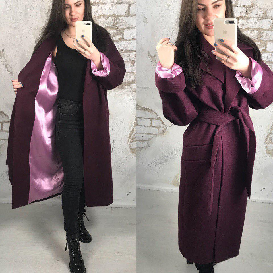 Кашемировое пальто под пояс ниже колена длиной 58pal71