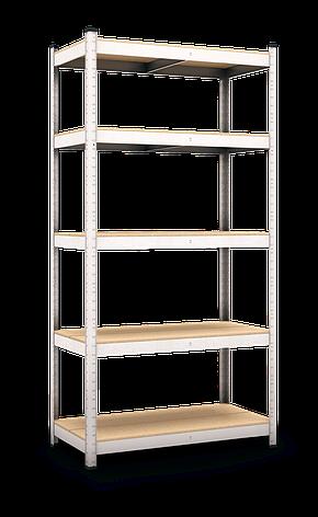 Стеллаж Бюджет (2200х1000х450) оцинкованный на зацепах, 5 полок, ДСП, 175 кг/полка, фото 2