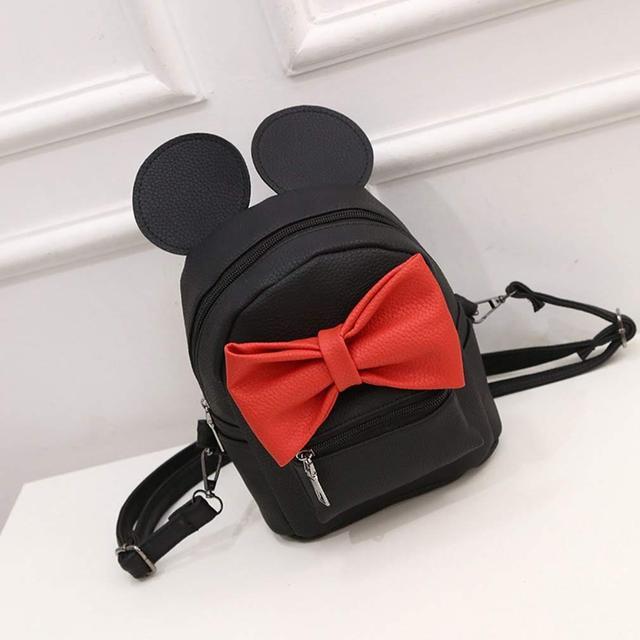 Женский рюкзак Микки с ушками и бантиком чёрный
