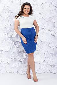 Стильное офисное платье с коротким рукавом 48-50-52 р ( электрик, бирюза )