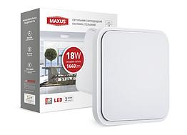 Cветильник накладной MAXUS 18W 4100K (тонкий дизайн, IP40) квадрат (03)