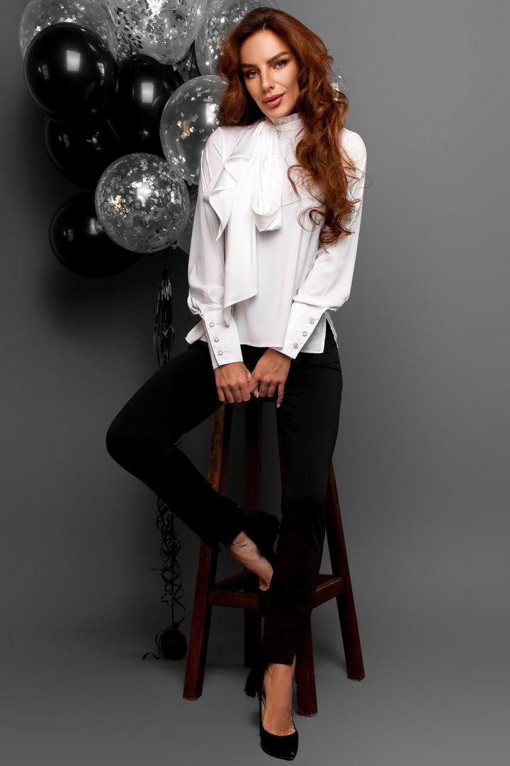 Женская шелковая блуза с бантом в расцветках 14bir110