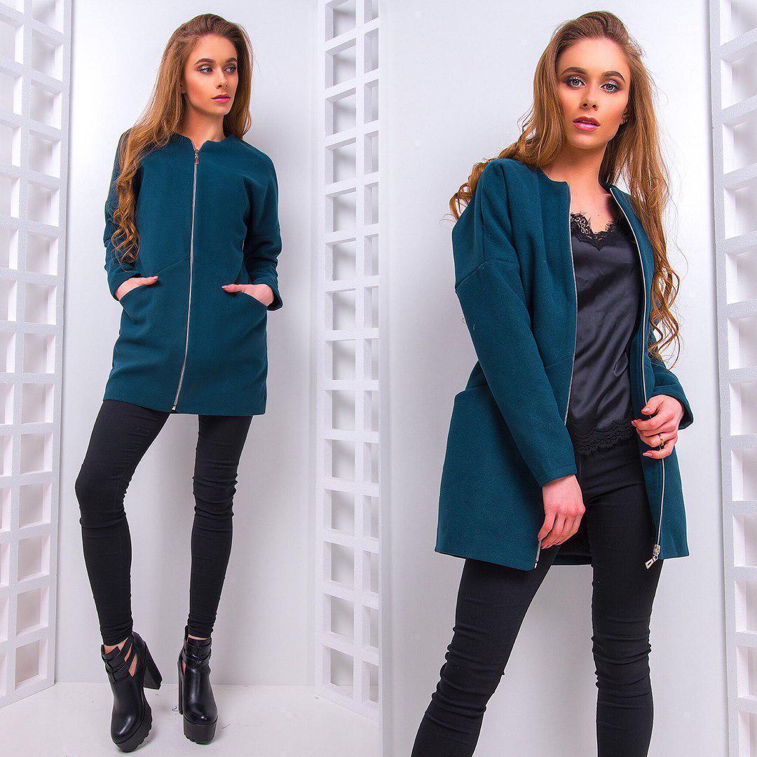 Однотонное женское кашемировое пальто на молнии 66pal78